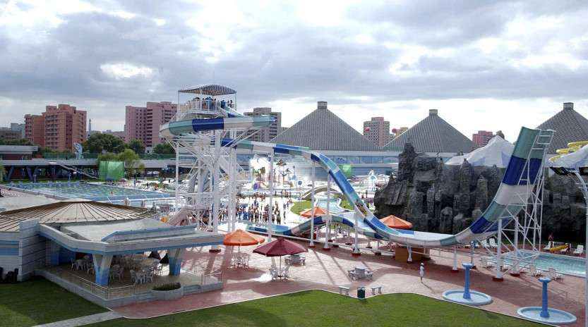 People use The Munsu Water Park in Pyongyang in this undated photo released by North Korea's KCNA