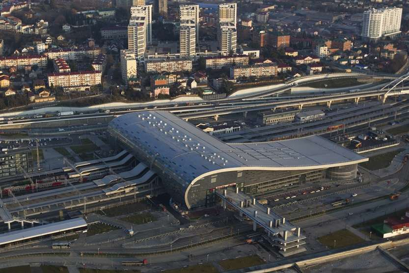 "An aerial view from a helicopter shows a newly-built railway station ""Adler"" in the Black Sea resort city of Sochi"