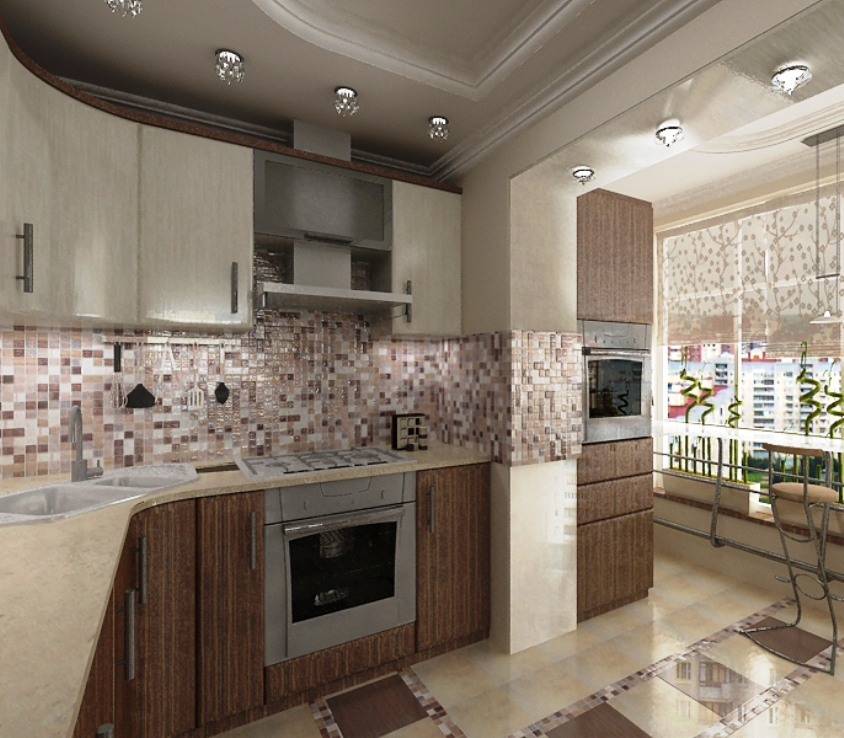 Дизайн лоджии рядом с кухней.